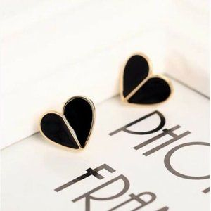 NEW Kate Spade BLACK Heritage Spade Heart Earrings